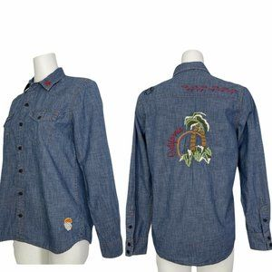 Lucky Brand Chambray Western Shirt M Embroidered
